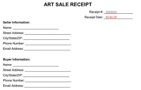Free Art Sale Receipt - PDF | Word | eForms - Free Fillable Forms