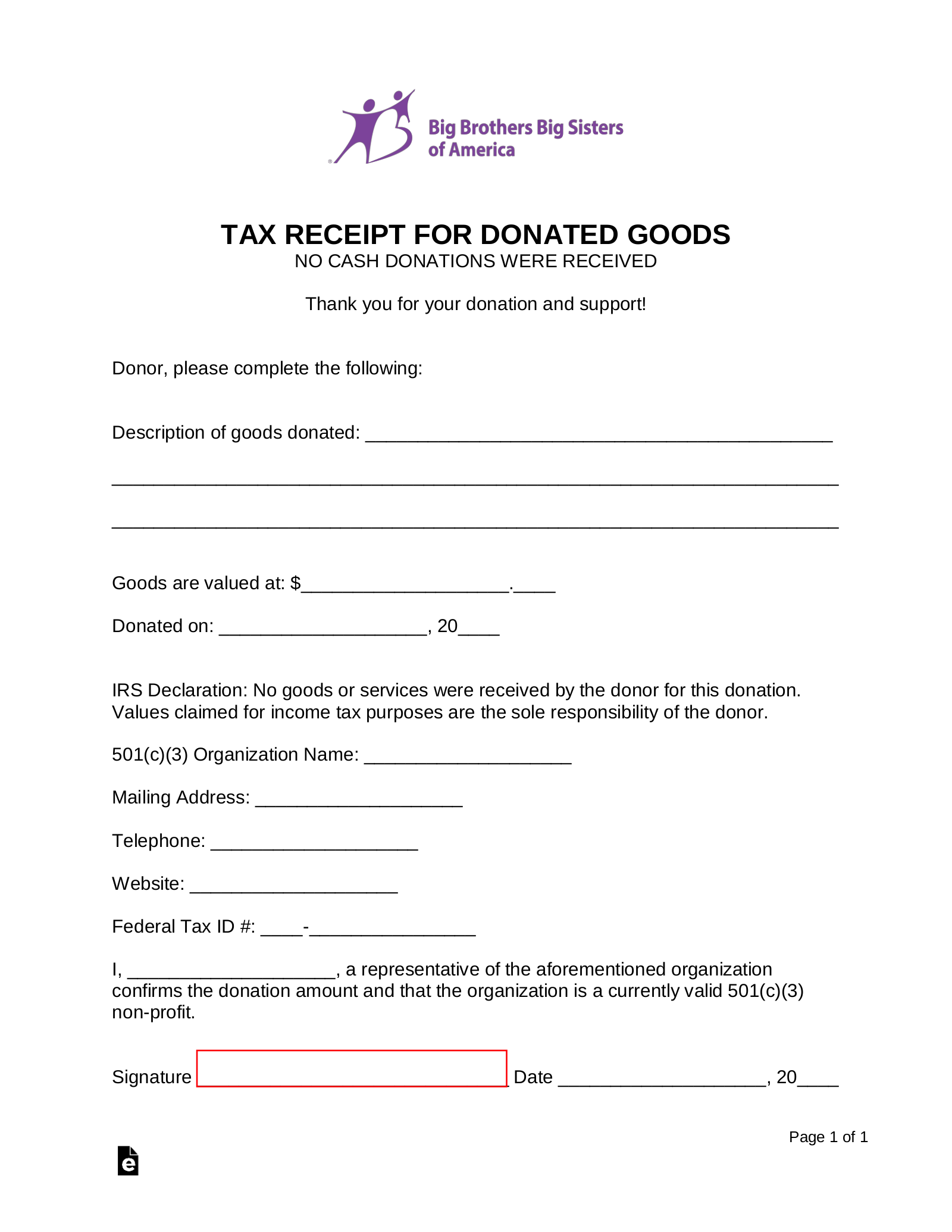 Free Big Brothers Big Sisters Of America Donation Receipt