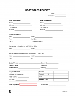 Free Boat Sale Receipt Template Word Pdf Eforms