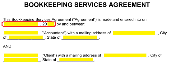 Free Bookkeeping Accounting Services Agreement Pdf