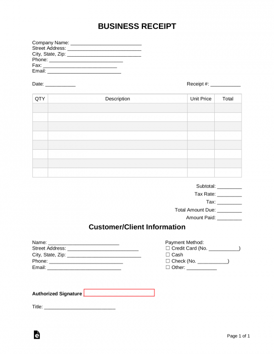 Receipt Book Templates Print 3 Receipts Per Page Eforms