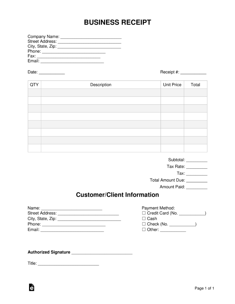 free business receipt template