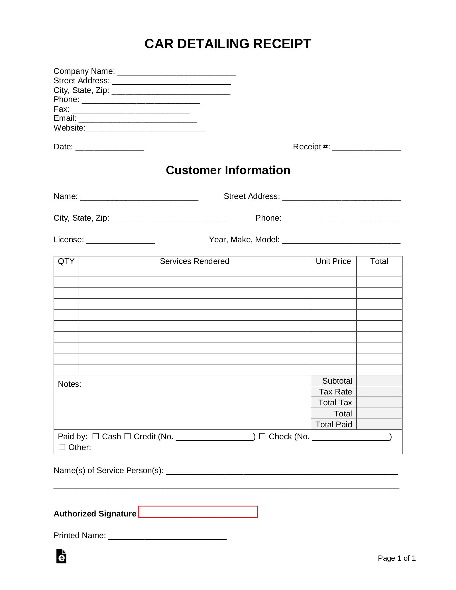 free car detailing receipt template pdf word eforms
