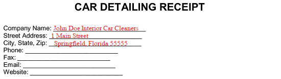Free Car Detailing Receipt Template - PDF | Word | eForms - Free Fillable Forms