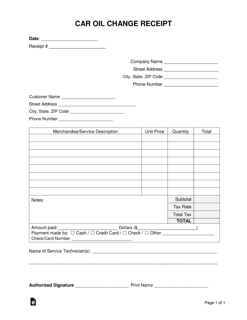 Free Car Oil Change Receipt Template - Word | PDF | eForms – Free
