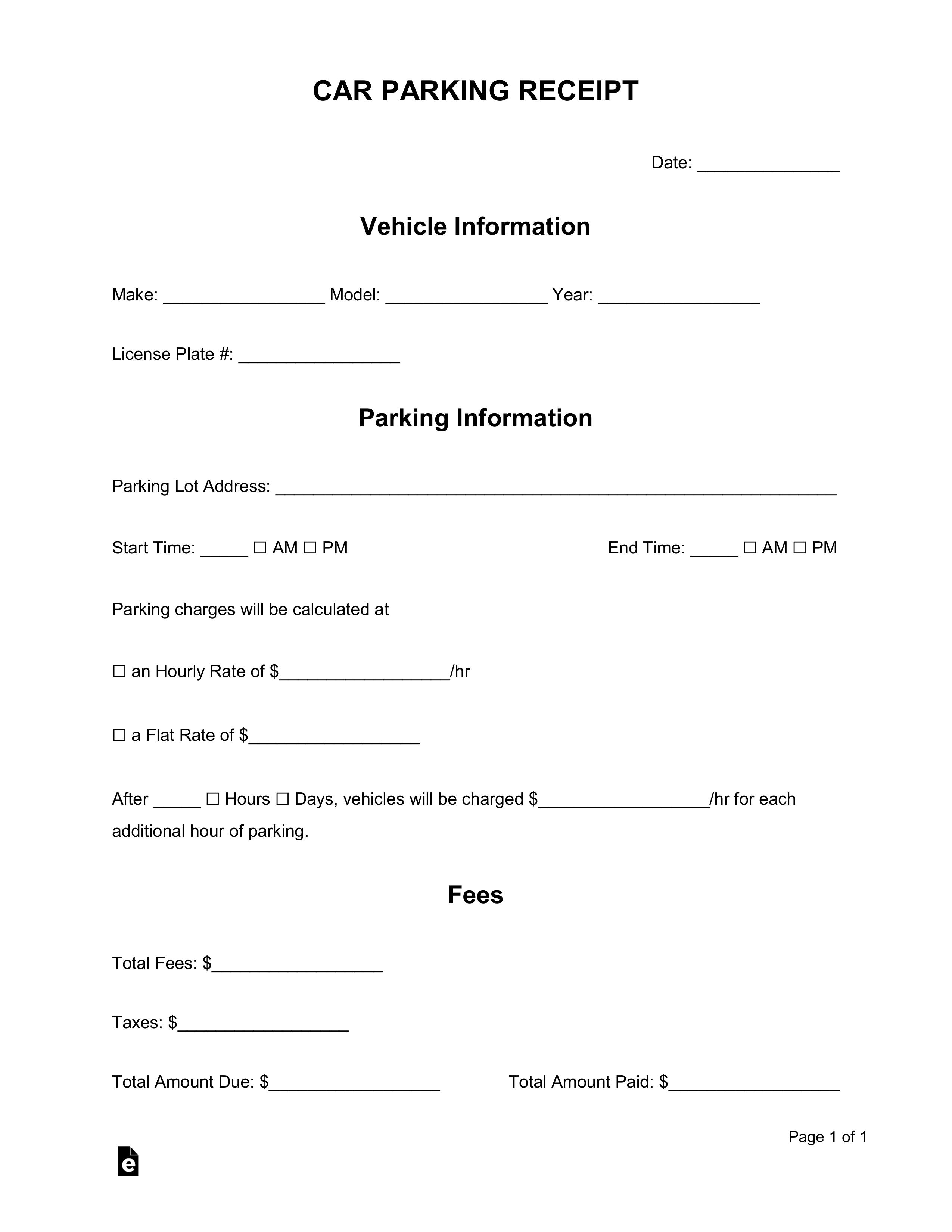 free car vehicle parking receipt template word pdf. Black Bedroom Furniture Sets. Home Design Ideas