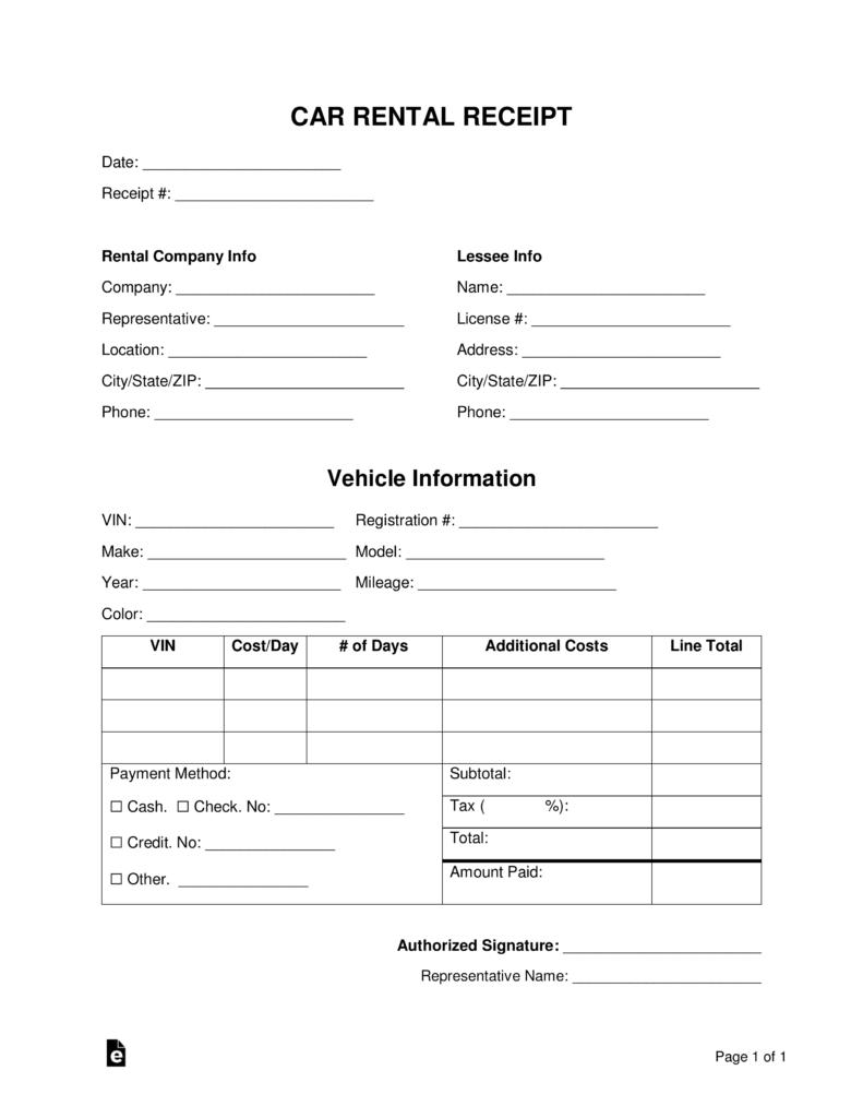 Free Car Rental Receipt Template Word Pdf Eforms Free