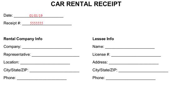 Free Car Rental Receipt Template Word Pdf Eforms