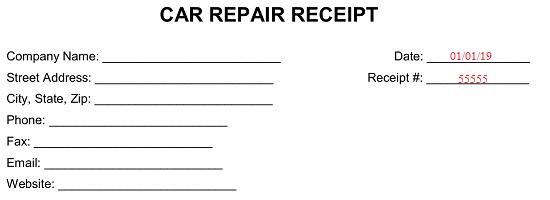 Free Car Vehicle Repair Receipt Template Word Pdf Eforms
