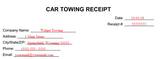 Free Vehicle Towing Receipt Template Word Pdf Eforms
