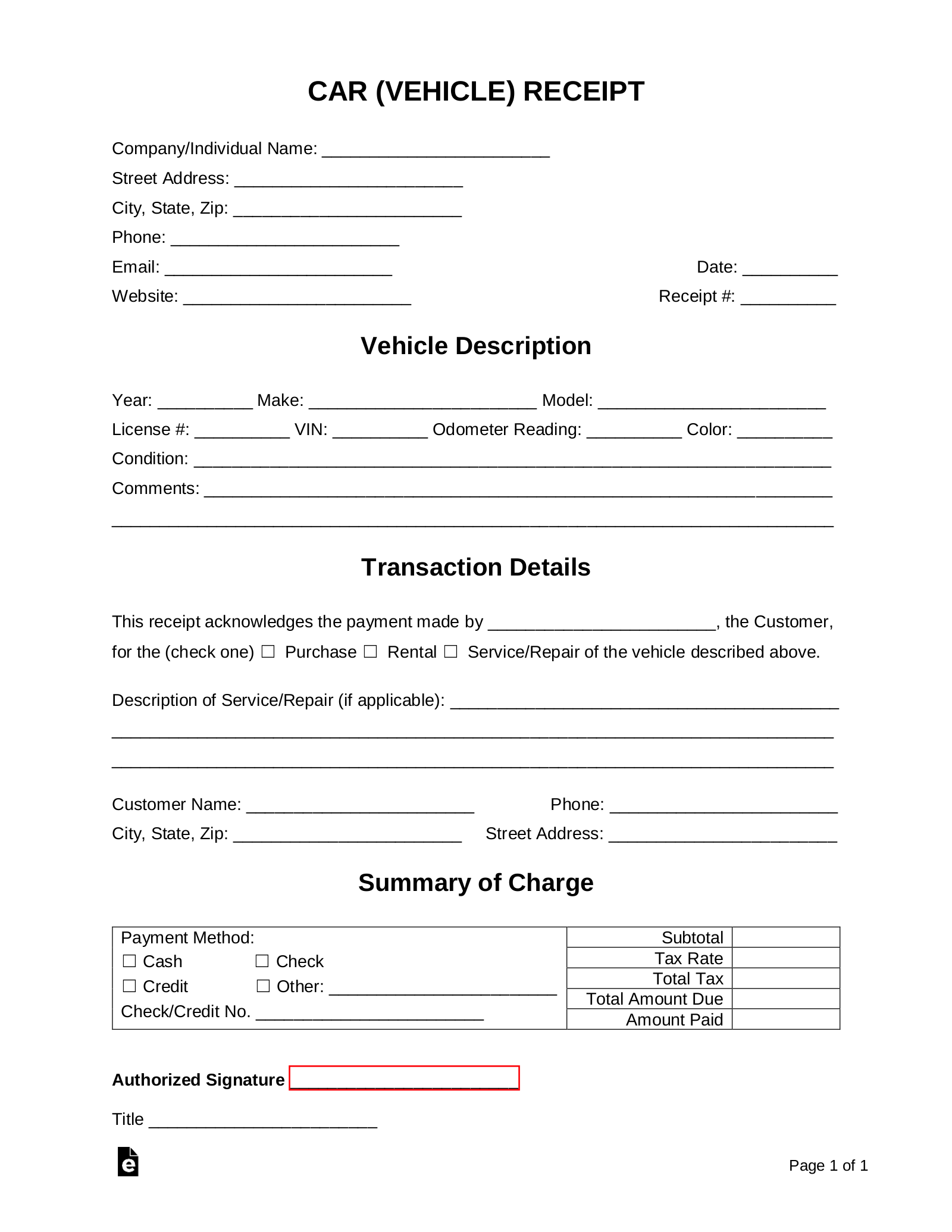 Free Car Vehicle Receipt Template Pdf Word Eforms Free