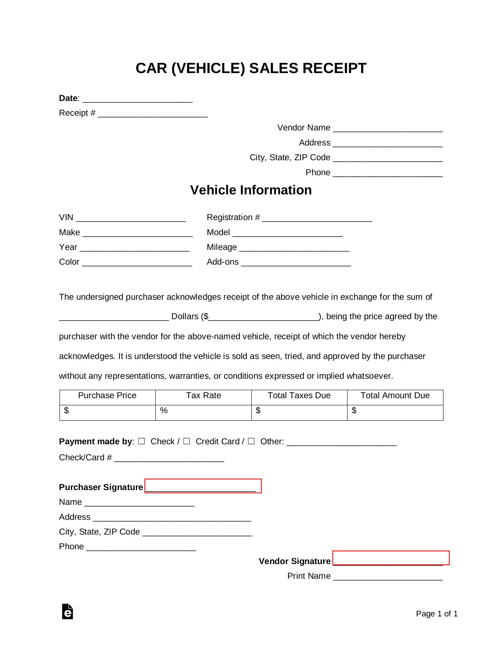 Free Car Vehicle Sales Receipt Template Pdf Word