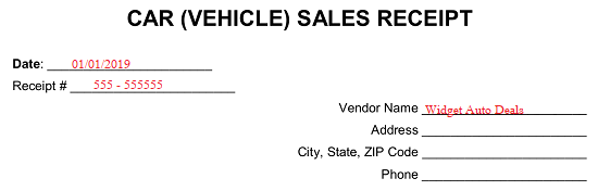 Free Car (Vehicle) Sales Receipt Template - PDF | Word | eForms - Free Fillable Forms