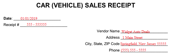 Car Sales Receipt Template from eforms.com