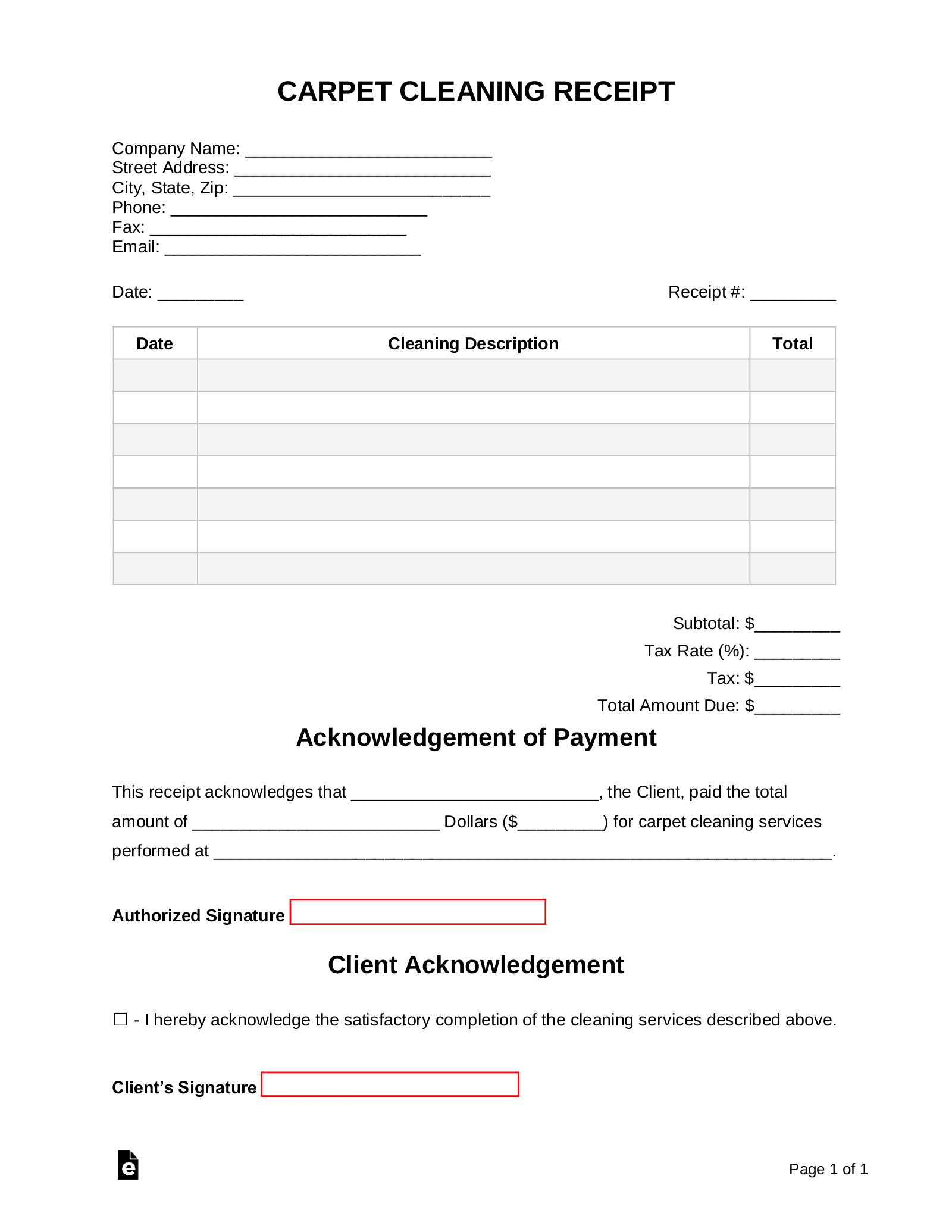 Free Carpet Cleaning Receipt Template Pdf Word Eforms