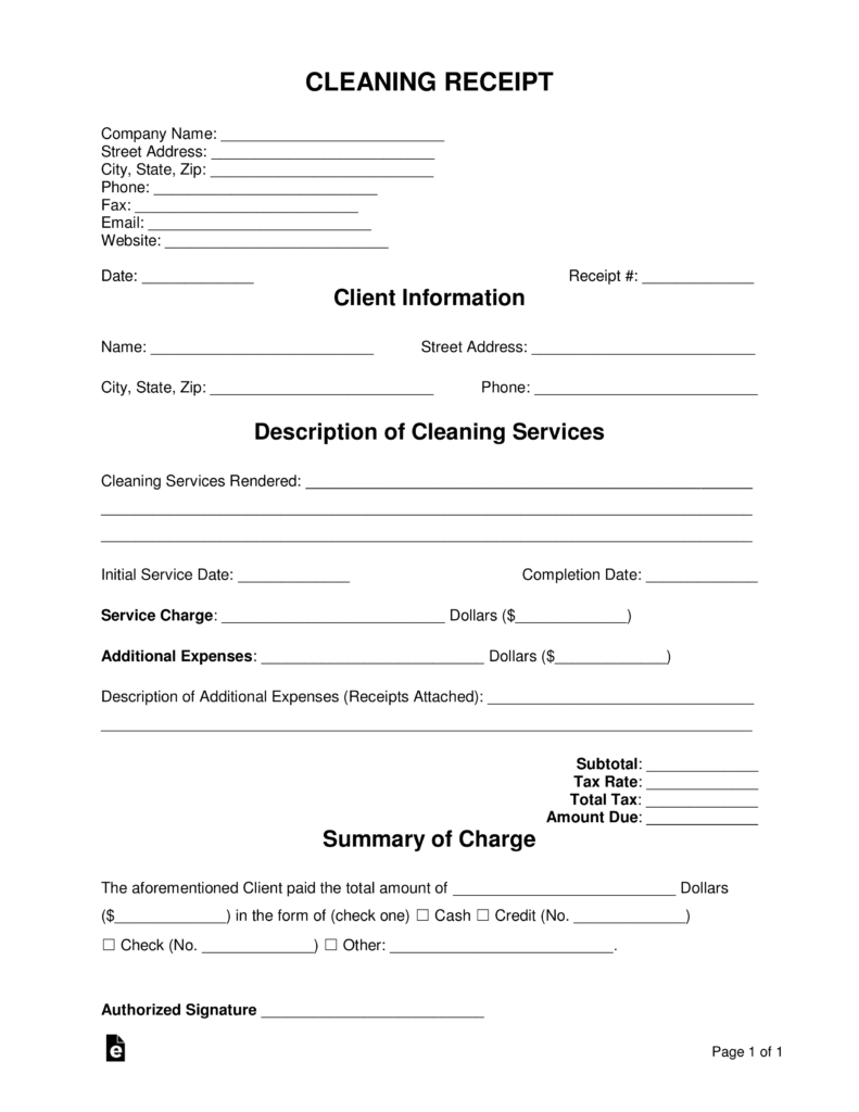 Free Cleaning Service Receipt Template Pdf Word Eforms Free