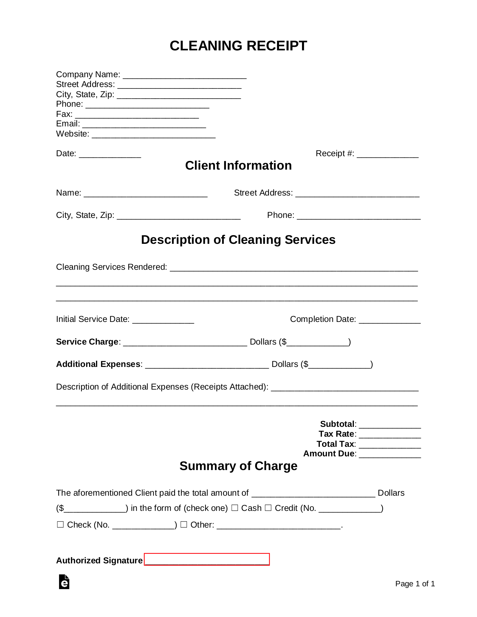 Free Cleaning Service Receipt Template