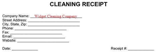 Free Cleaning Service Receipt Template Pdf Word Eforms