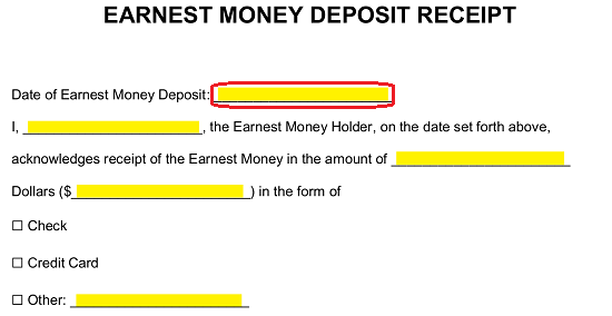 earnest money deposit form  Free Earnest Money Deposit Receipt (for Real Estate) - PDF ...