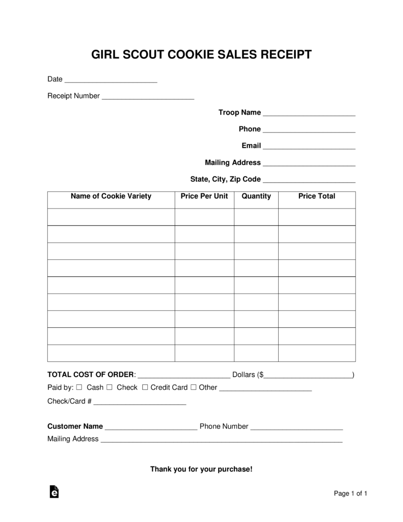 -Scout-Cookie-Sales-Receipt-Template-791x1024 Online Order Form For Scout Cookies on blank template, decorated sugar, place bake,