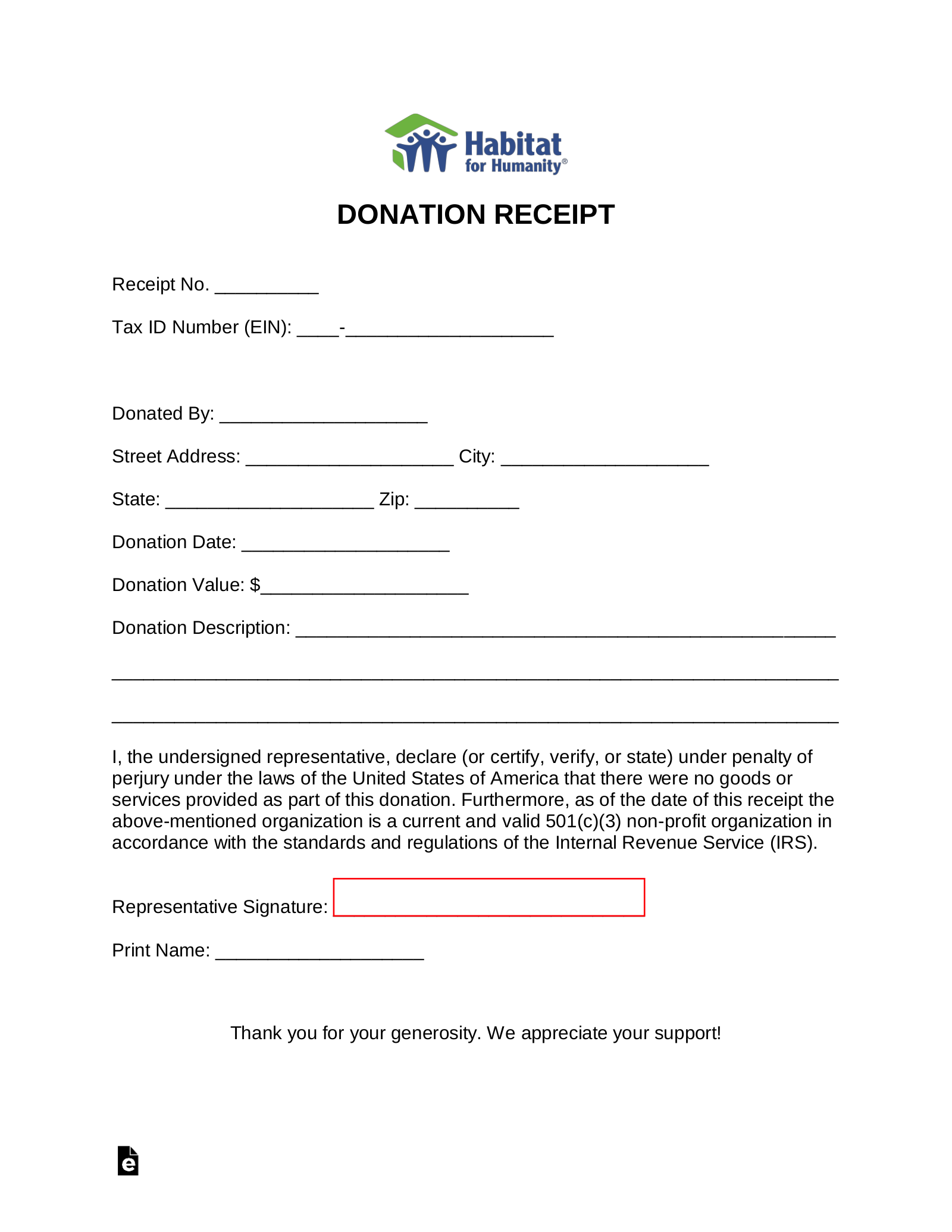 Free Habitat For Humanity Donation Receipt Template Pdf