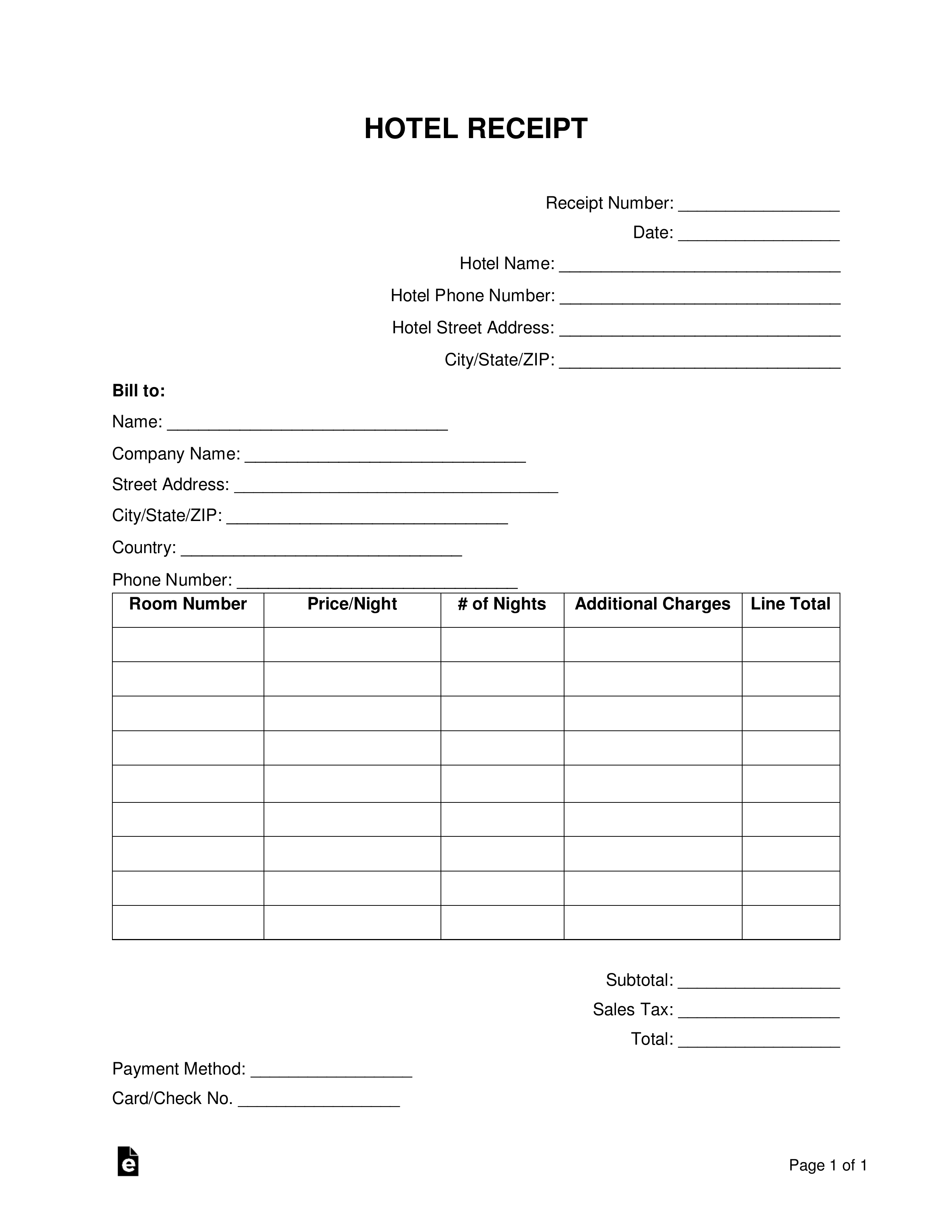 Free Hotel Receipt Template Word Pdf Eforms Free