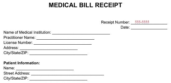 Free Medical Bill Receipt Template Pdf Word Eforms