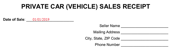 Free Vehicle Private Sale Receipt Template Pdf Word Eforms