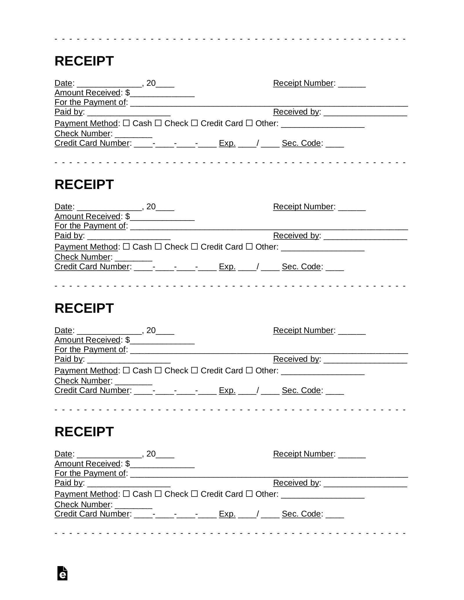 Free Receipt Templates Pdf Word Eforms