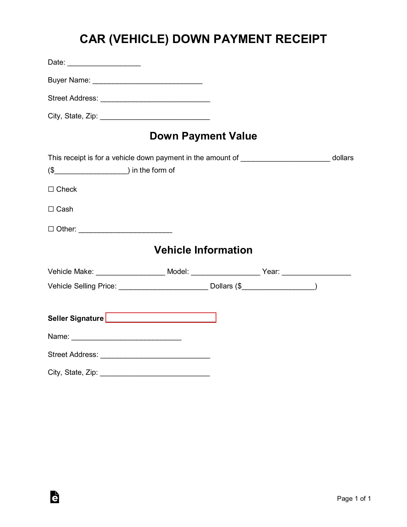 Free Car (Vehicle) Downpayment Receipt