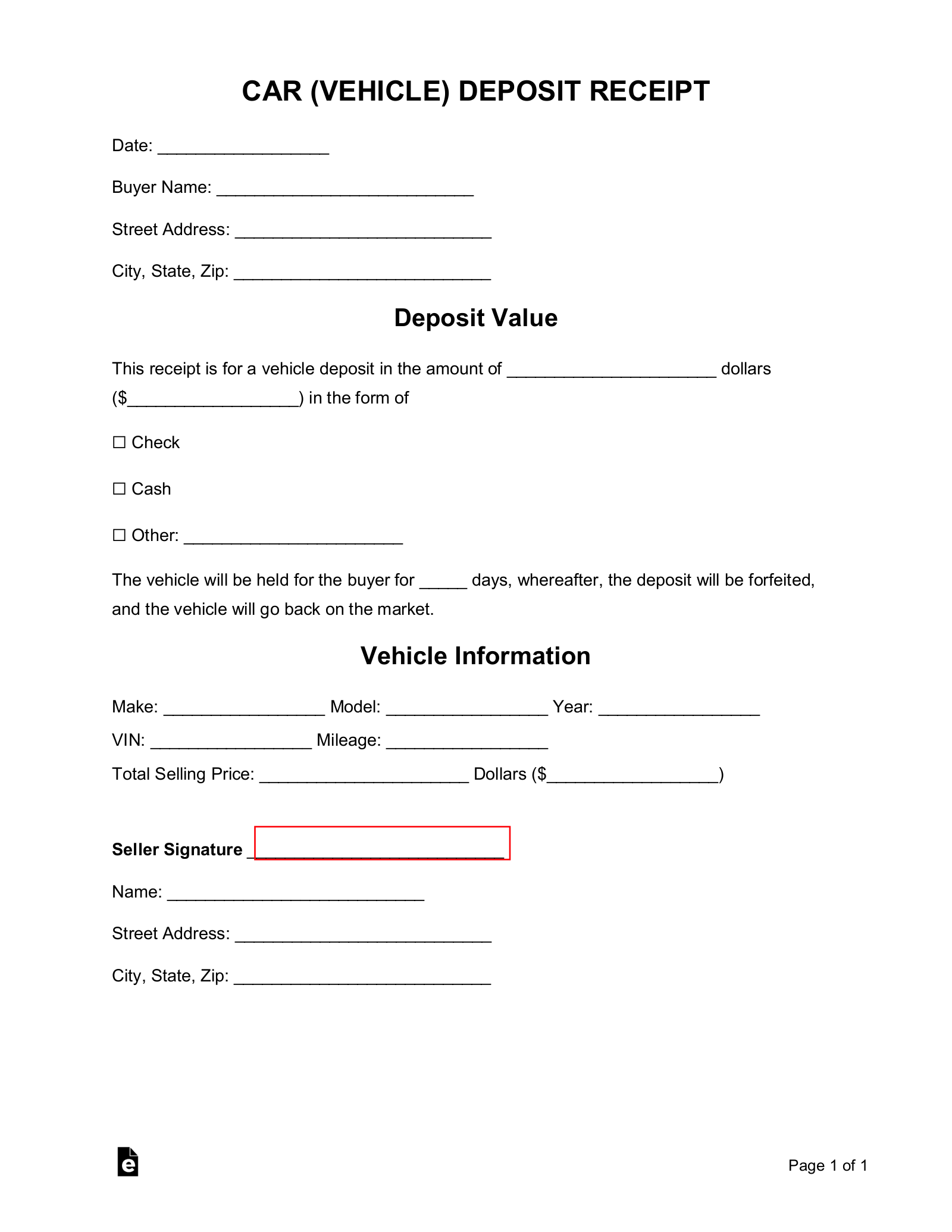 vehicle deposit form  Free Car (Vehicle) Purchase Deposit Receipt Template - Word ...