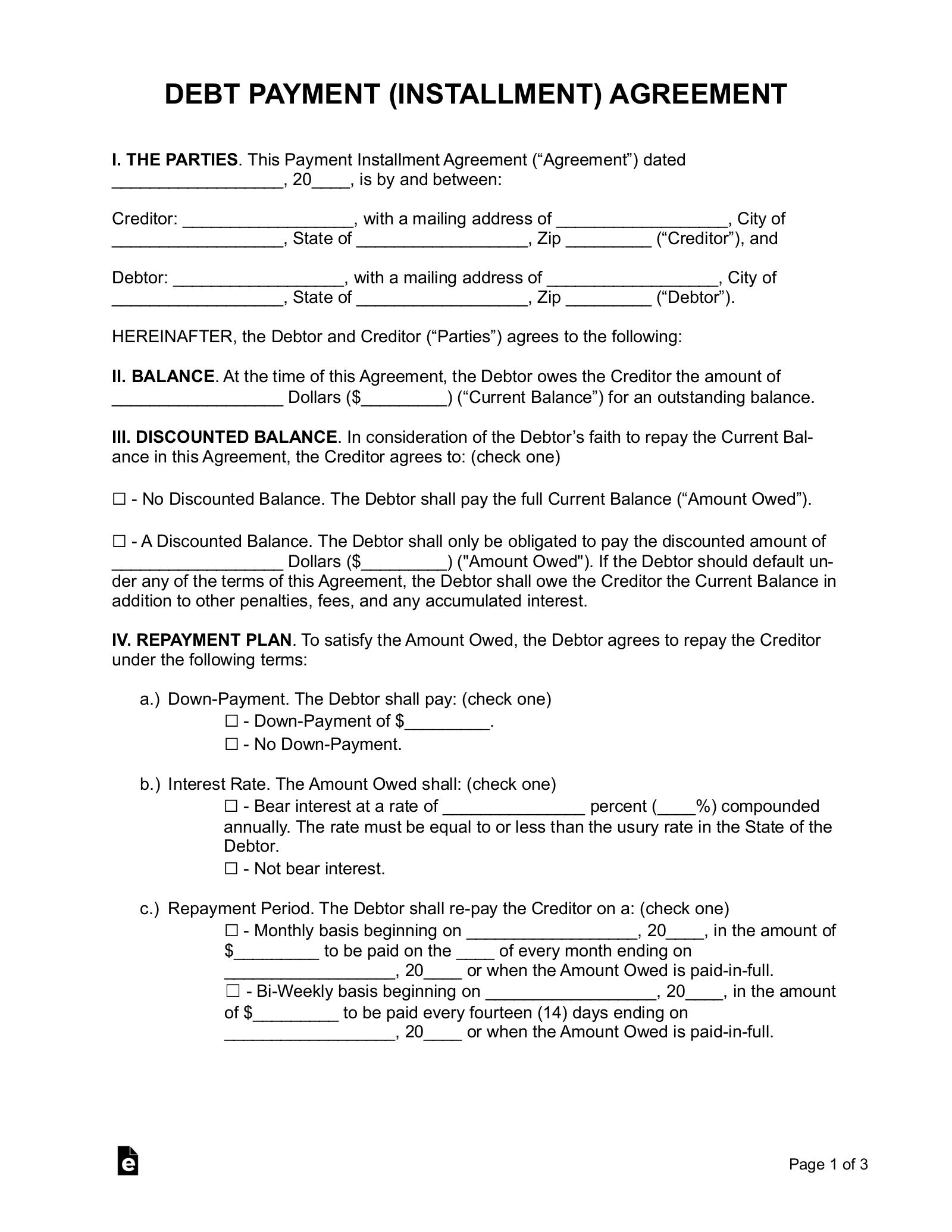 Free Debt Payment Plan Agreement Pdf Word Eforms
