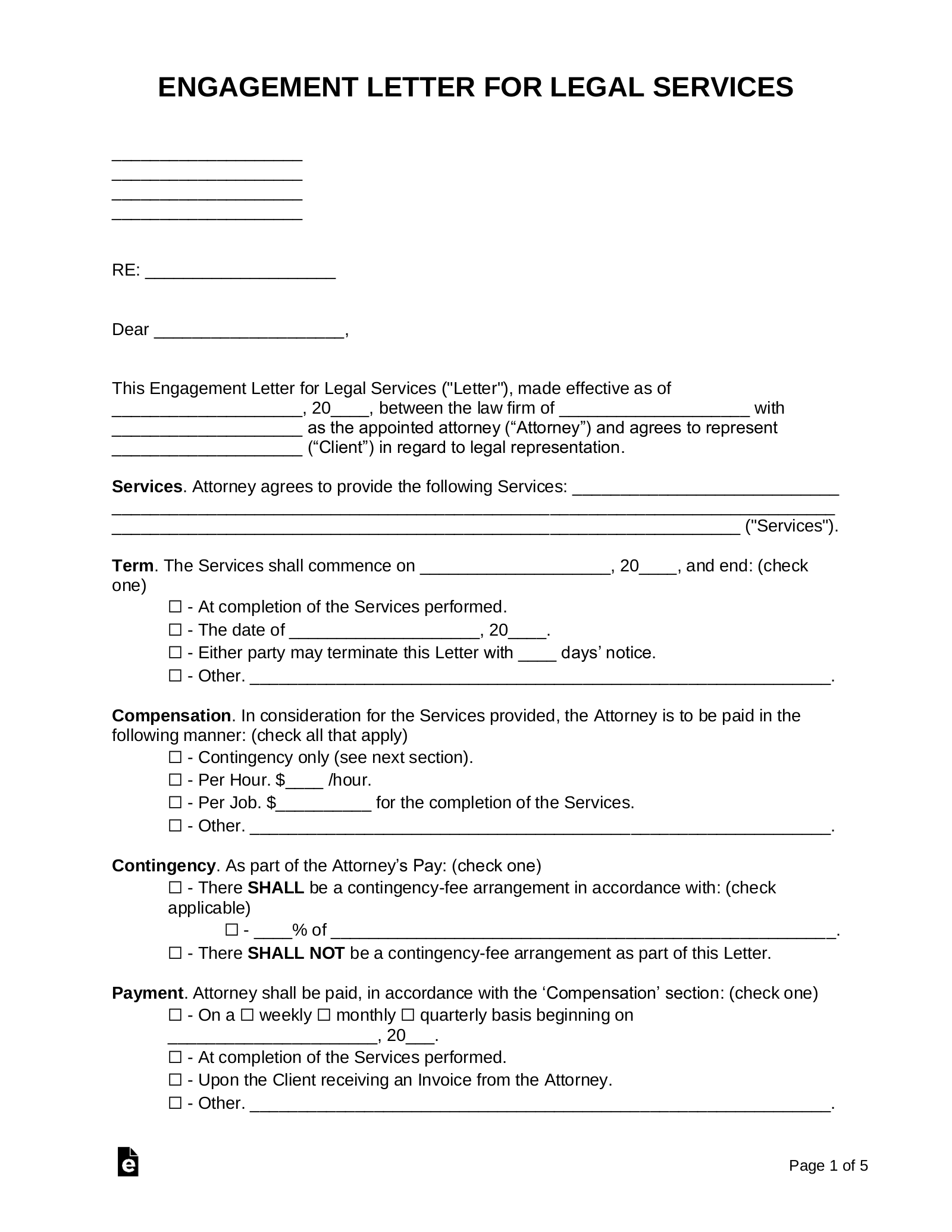 Free Attorney Engagement Letter Template Sample Pdf Word Eforms