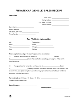 Free Vehicle Private Sale Receipt Template Pdf Word