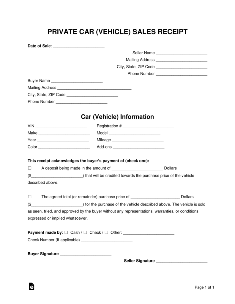Free Car Private Sale Receipt Template - PDF | Word | eForms – Free