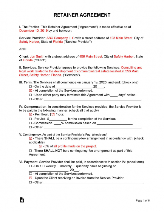 Free Retainer Agreement Template Sample Word Pdf Eforms Free Fillable Forms