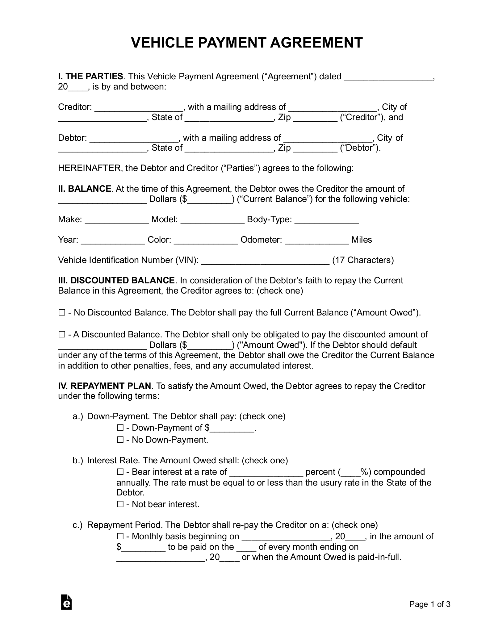 Free Vehicle Payment Plan Agreement Pdf Word Eforms