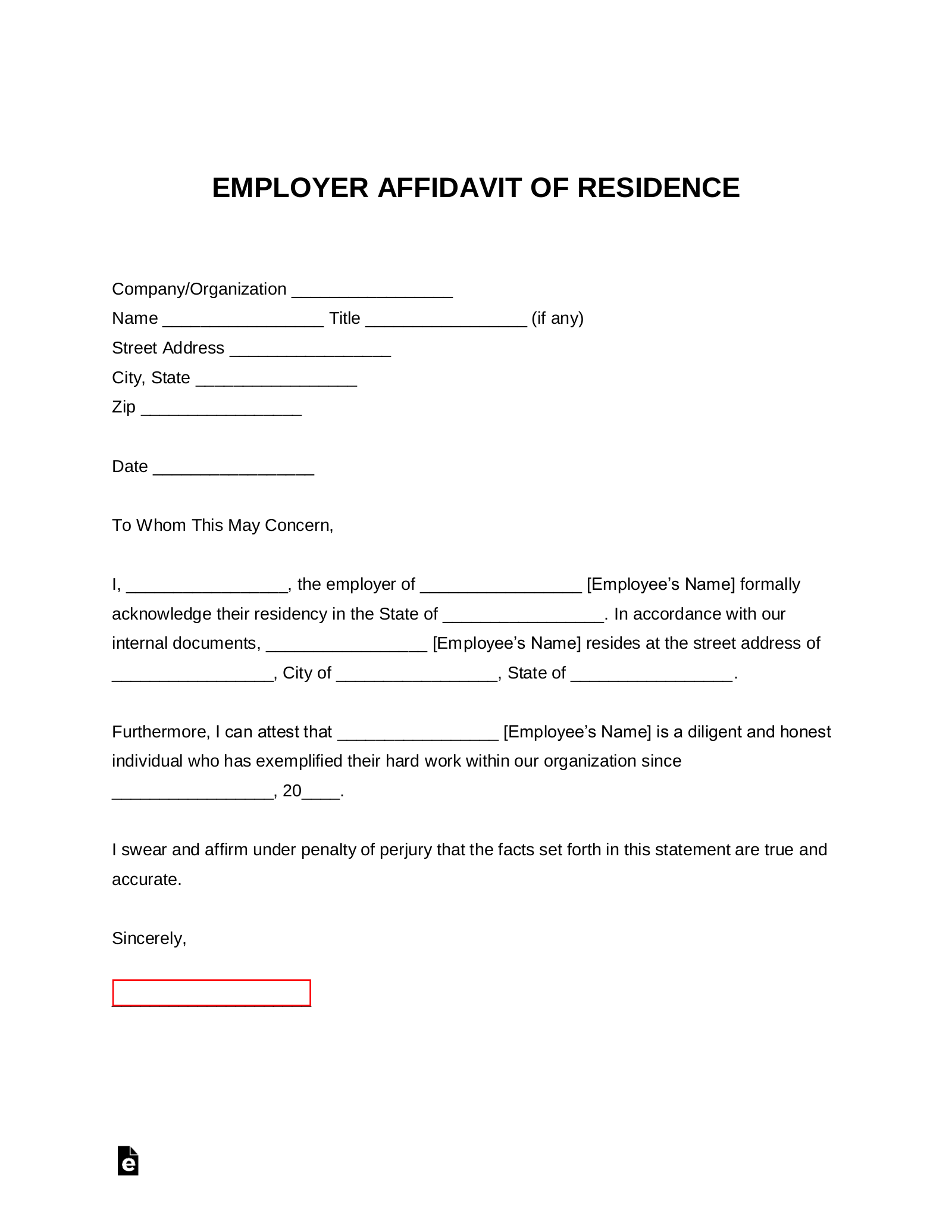 Free Employer Proof Of Residency Letter Word Pdf Eforms