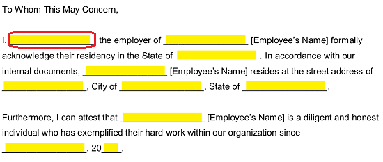 Letter From Employer Stating Income from eforms.com
