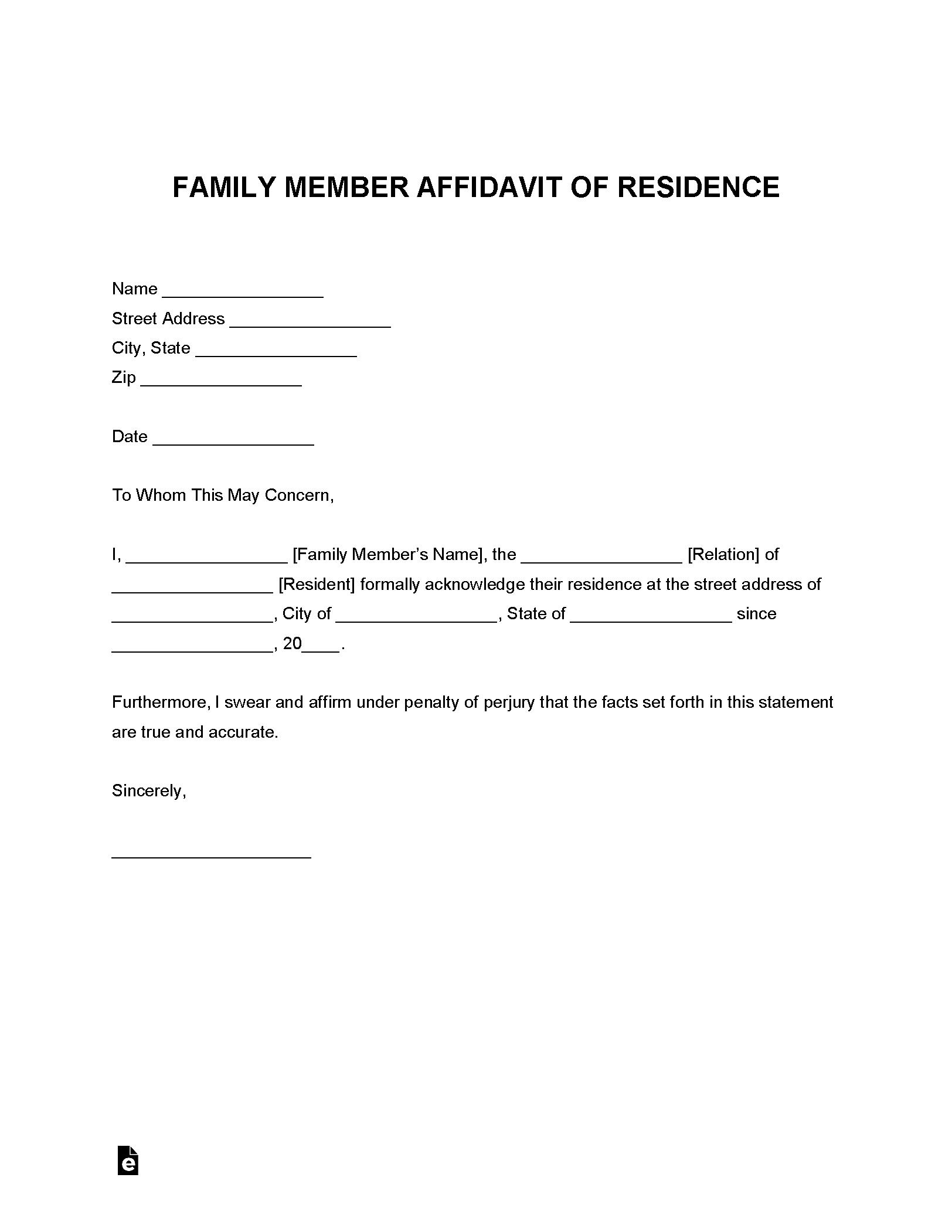 Free Family Member Proof Of Residency Letter Pdf Word