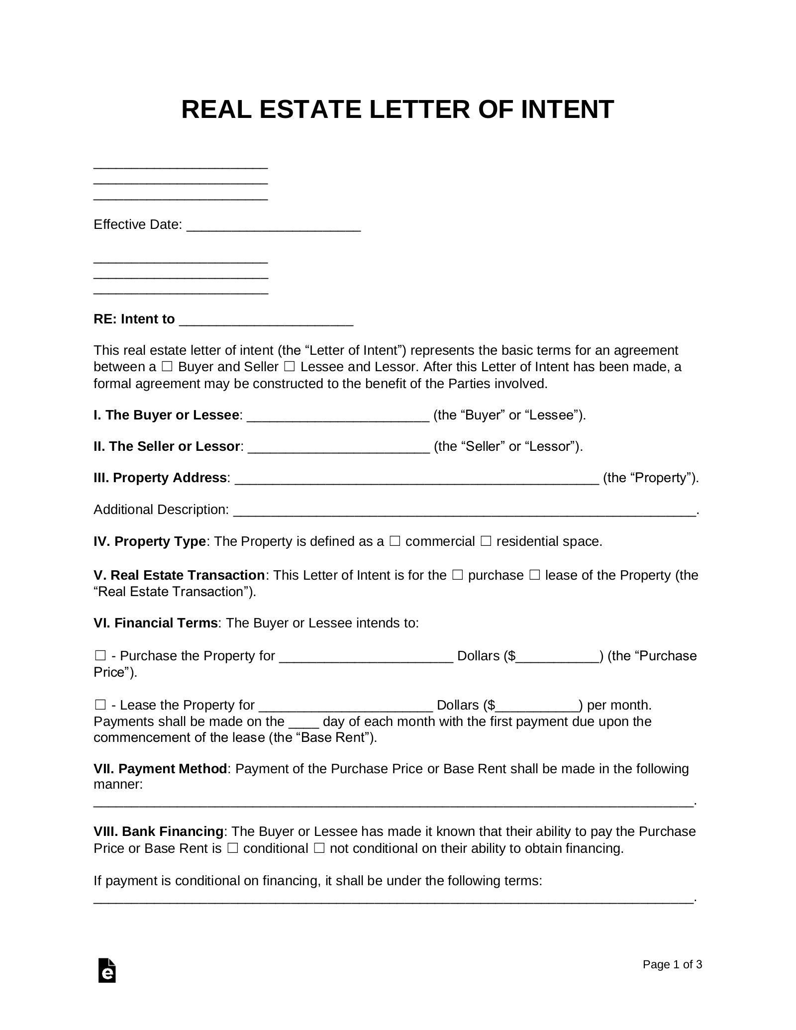 Free Real Estate Letter Of Intent Purchase Or Lease Word Pdf