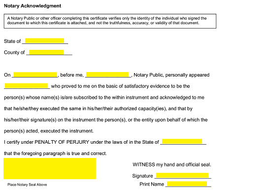 Proof Of Residency Letter Notarized from eforms.com