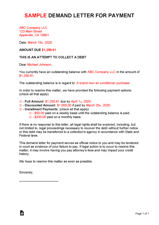 Non Sufficient Funds Demand Letter from eforms.com