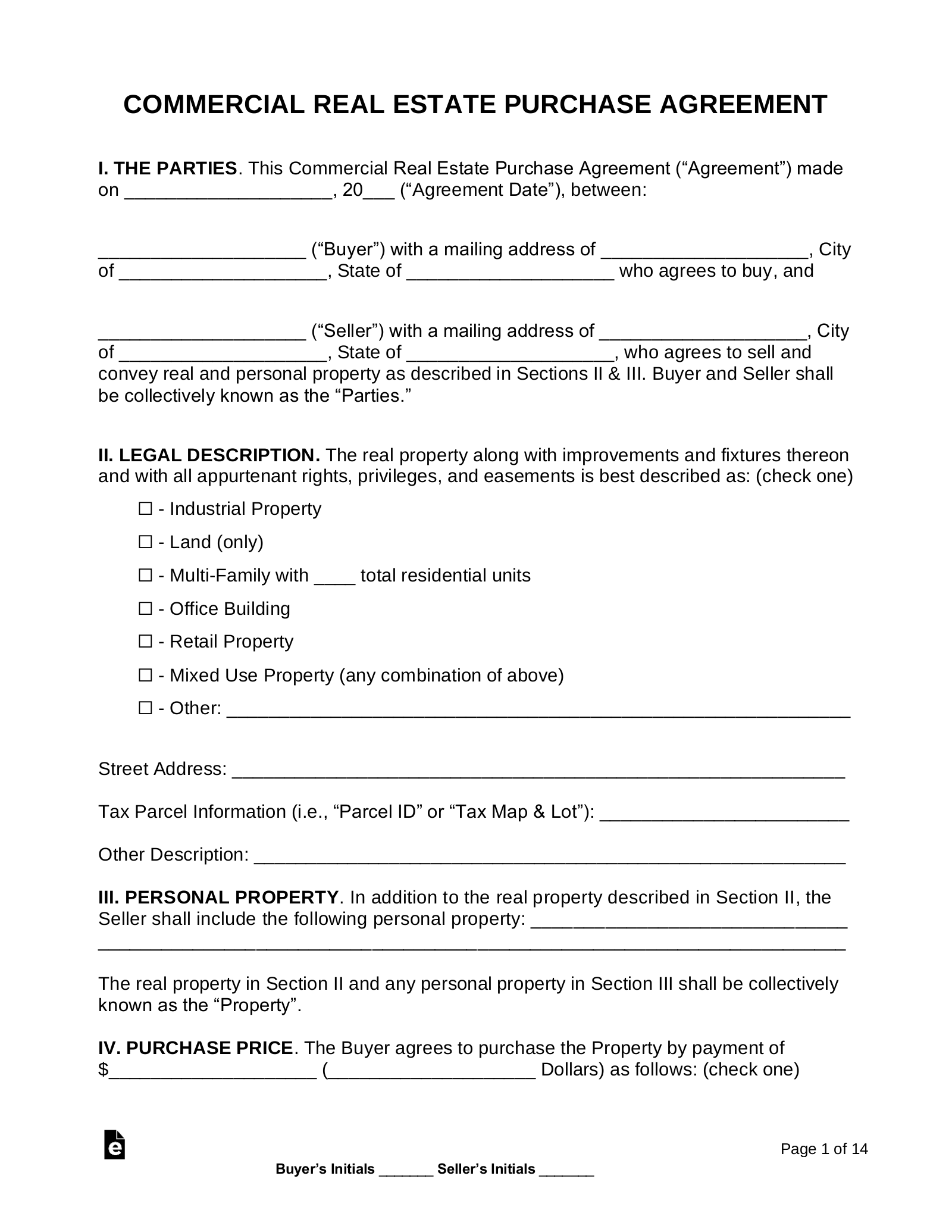 Free Commercial Real Estate Purchase Agreement   PDF   Word – eForms