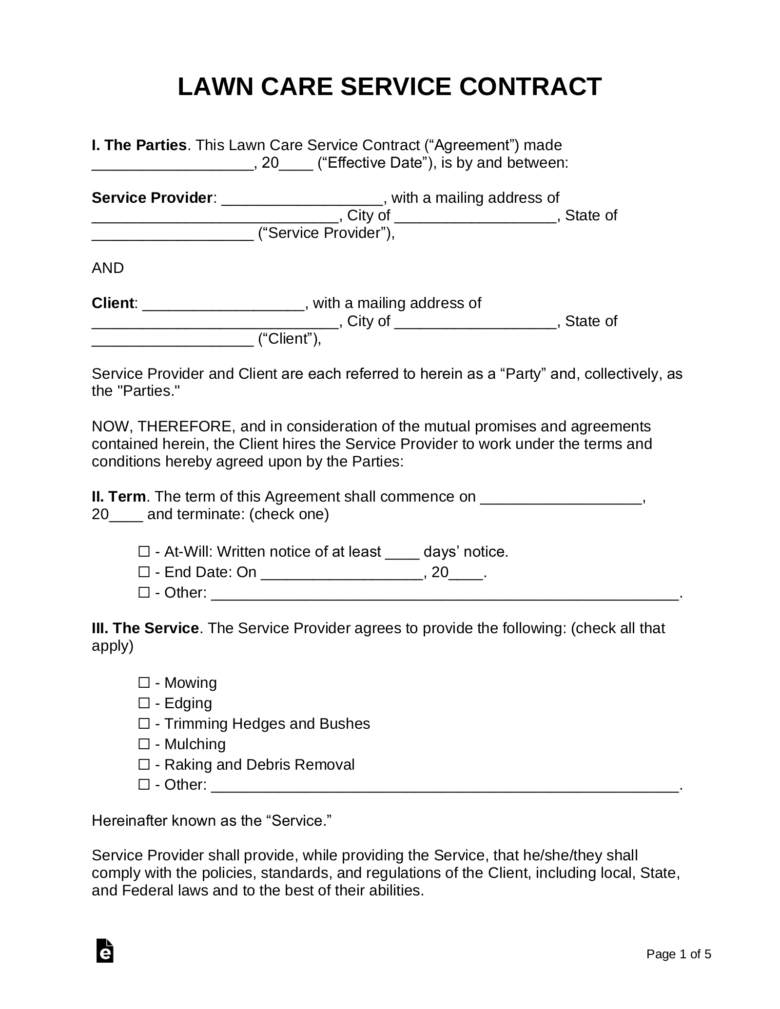 free lawn care contract template - samples