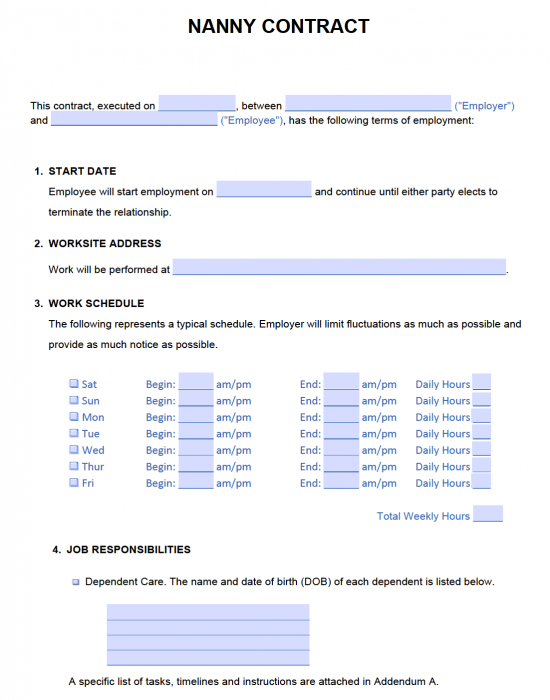 Free Nanny Contract Template Samples Pdf Word Eforms