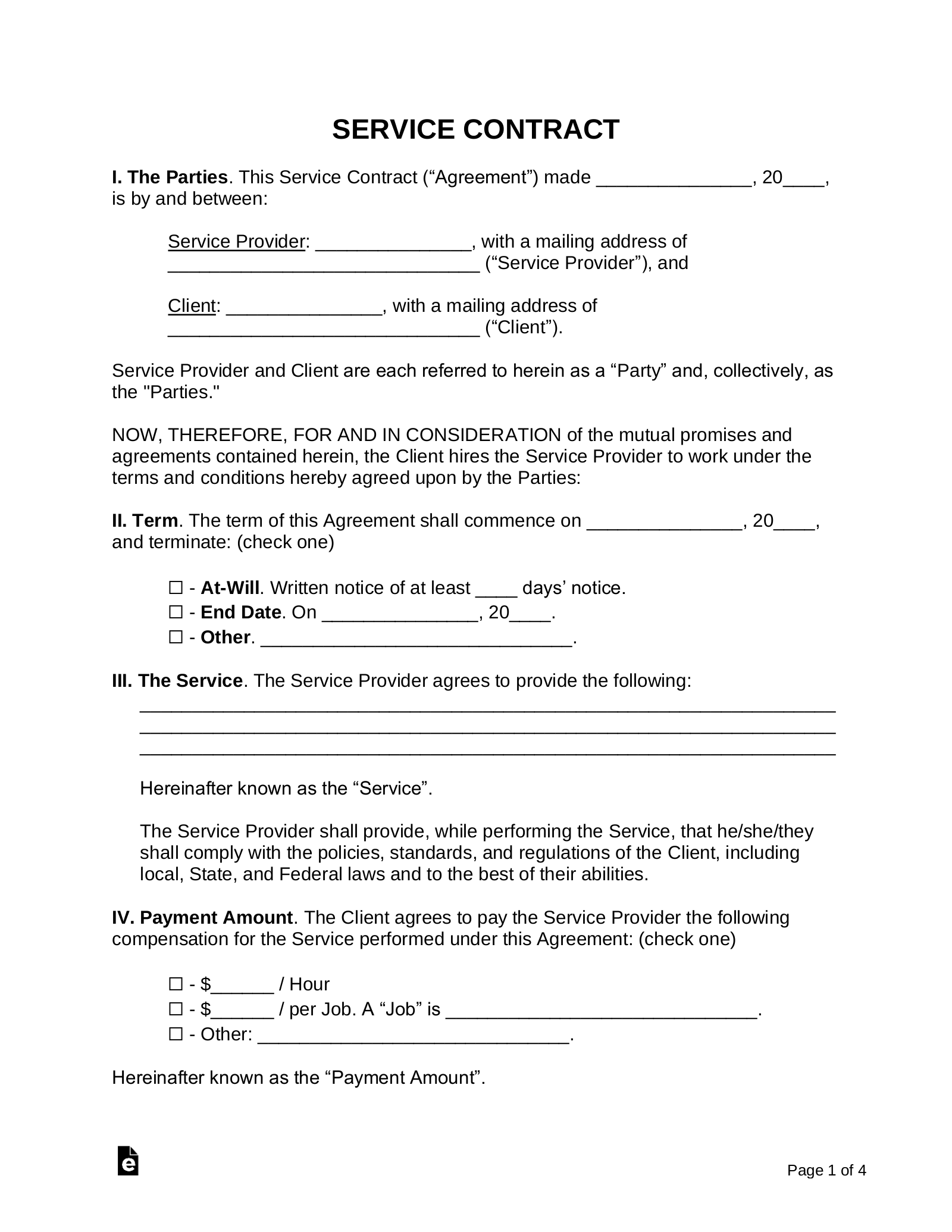 Free Service Contract Templates Pdf Word Eforms