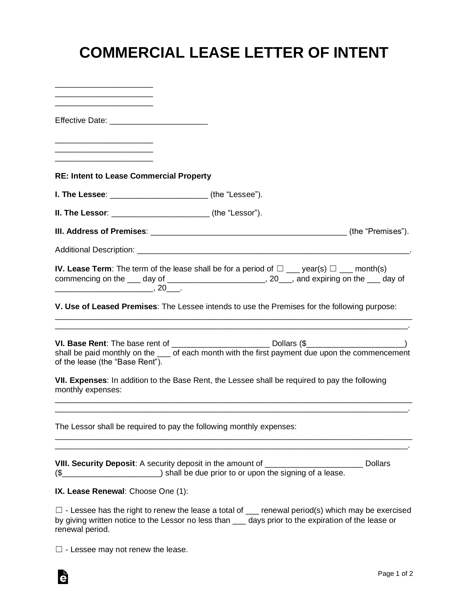 Sample Letter Of Intent To Rent A House from eforms.com