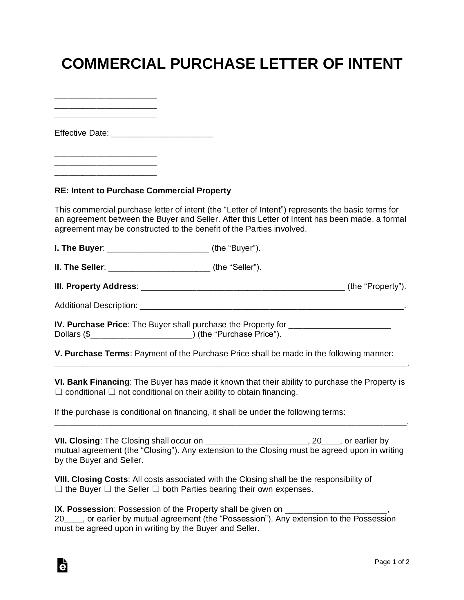 Free Letter Of Intent To Purchase Commercial Property Word Pdf Eforms Free Fillable Forms