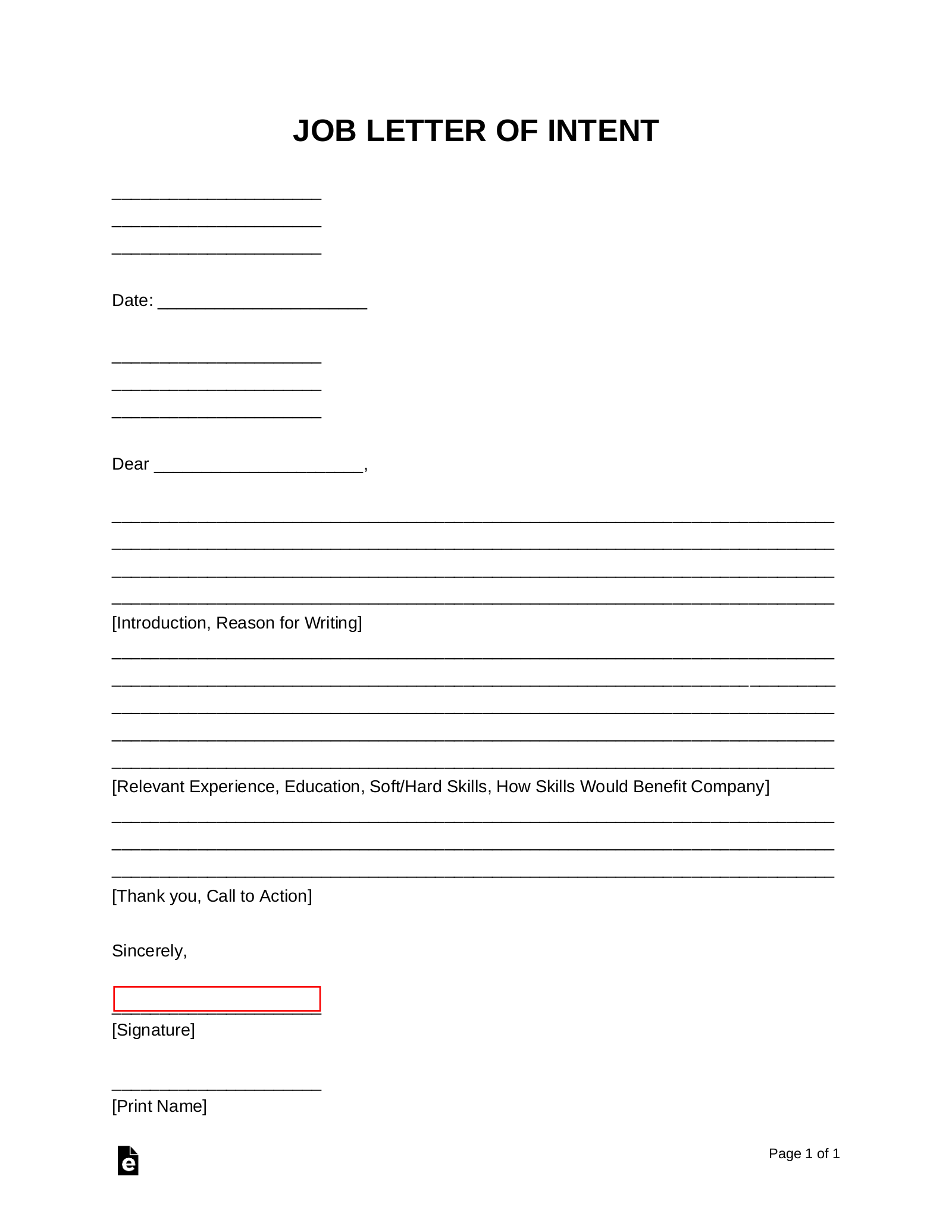 Free Job Letter Of Intent Template Samples Pdf Word Eforms